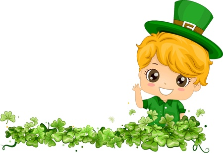 cartoon shamrock: Border Design Featuring a Boy Near a Bunch of Shamrocks