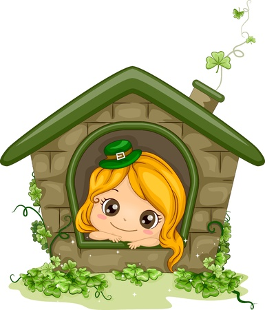 cartoon shamrock: Illustration of a Girl Peeking from a Window
