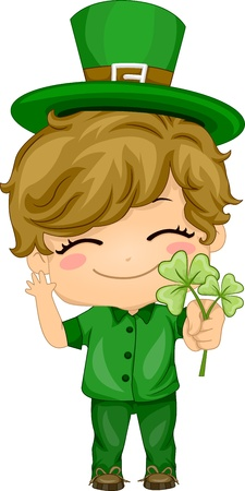 Illustration of a Boy Holding Shamrocks illustration