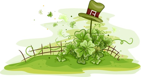 Illustration of a Hat Resting on a Fence illustration