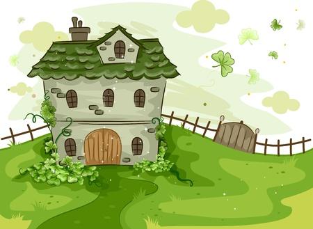 Illustration of a House Surrounded by Shamrocks illustration