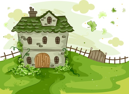 cartoon shamrock: Illustration of a House Surrounded by Shamrocks
