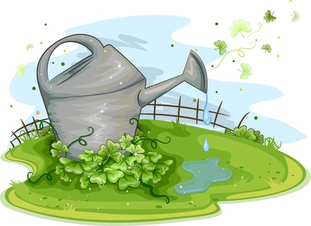 Illustration of a Watering Can Sitting Near a Cluster of Shamrocks illustration