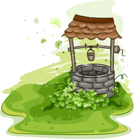 cartoon shamrock: Illustration of a Well Surrounded by Shamrocks