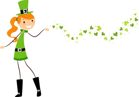 leprechaun's hat: Illustration of a Girl Scattering Shamrocks