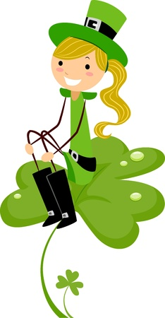 leprechaun's hat: Illustration of a Girl Sitting on a Shamrock Stock Photo