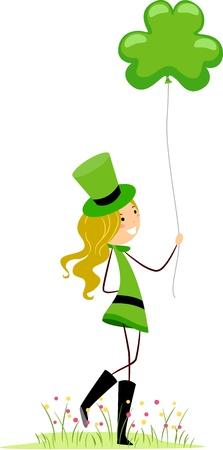 Illustration of a Girl Holding a Shamrock-shaped Balloon illustration