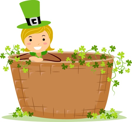 leprechaun's hat: Illustration of a Girl Sitting Inside a Giant Basket
