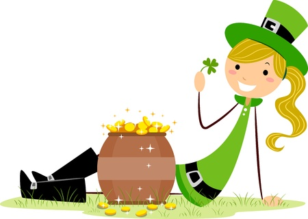 irish woman: Illustration of a Girl Sitting Beside a Pot of Gold