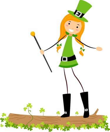 leprechaun's hat: Illustration of a St. Patrick Girl on Log