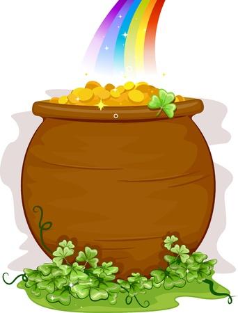 the end of a rainbow: Ilustraci�n de un caldero de oro al final del arcoiris para fondo