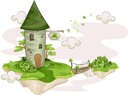 island clipart: Illustration of a Tower Standing on a Floating Island