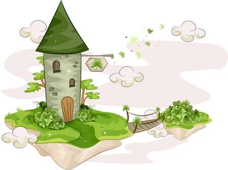 isla flotante: Ilustraci�n de una torre de pie en una isla flotante