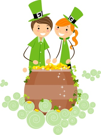 leprechauns hat: Illustration of a Boy and Girl Checking Out a Pot of Gold Stock Photo