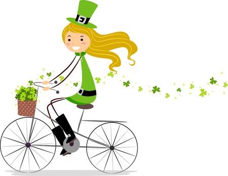 Illustration of a Girl on a Bike illustration