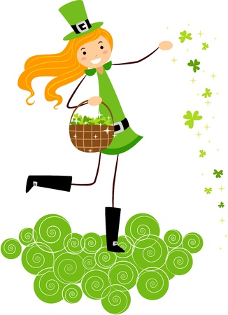 Illustration of a Girl Scattering Clovers illustration