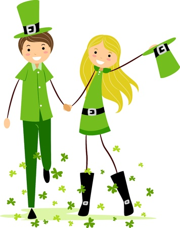 irish woman: Illustration of a Couple in Saint Patrick Days Costume Stock Photo
