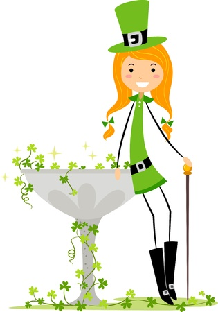 leprechaun's hat: Illustration of a Girl Leaning on a Fountain