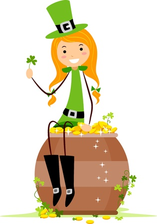 leprechaun's hat: Illustration of a Girl Sitting on a Pot of Gold Stock Photo