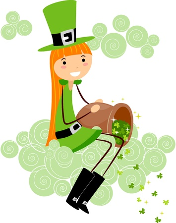 leprechauns hat: Illustration of a Girl Scattering Clovers Stock Photo