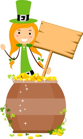 leprechauns hat: Illustration of a Pot of Gold Guarded by a Girl Holding a Board