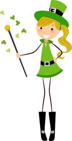 Illustration of a Girl Holding a Cane illustration