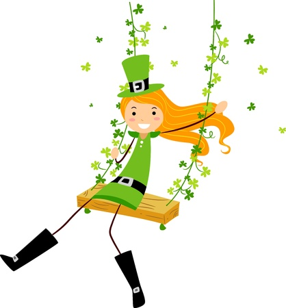 leprechauns hat: Illustration of a Girl on a Swing Stock Photo