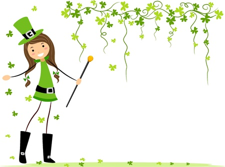 Illustration of a Girl Playing with Clovers illustration