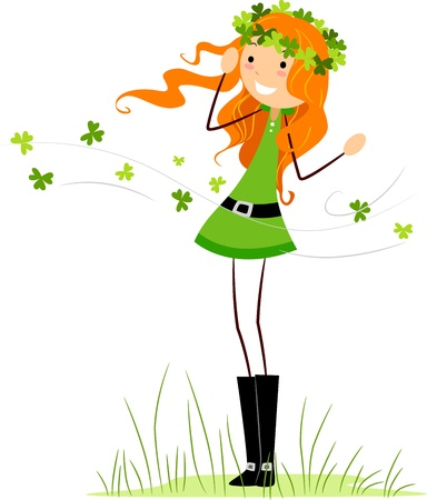 Illustration of a Girl Wearing a Crown Made from Clovers Stock Illustration - 8993596