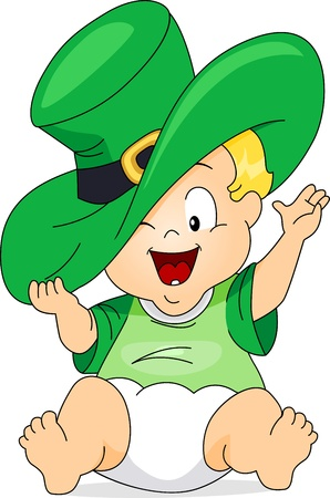 leprechauns hat: Illustration of a Baby Wearing a Large Leprechauns Hat