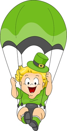 Illustration of a Baby in St Patrick costume Parachuting illustration