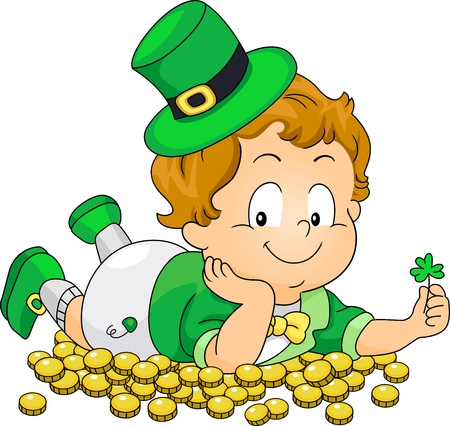 leprechauns hat: Illustration of a Kid Lying on Gold Coins Stock Photo