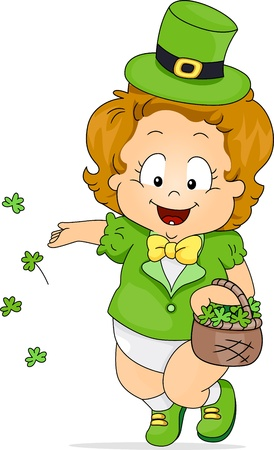 leprechauns hat: Illustration of a Kid Scattering Clovers