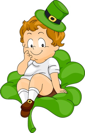 leprechauns hat: Illustration of a Kid Sitting on a Giant Clover