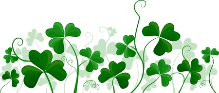 superstitions: Illustration of a Cluster of Shamrocks Against a White Background