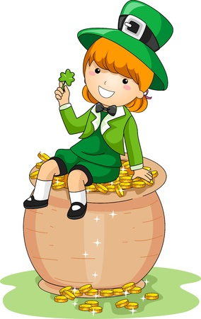 Illustration of a Girl Sitting on a Pot of Gold Stock Illustration - 9069182