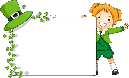 Illustration of a Girl Holding a St. Patrick-themed Banner illustration