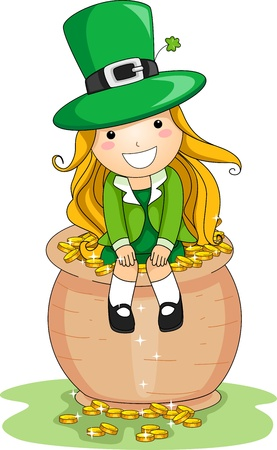 saint paddy's: Illustration of a Girl Sitting on a Pot of Gold Stock Photo