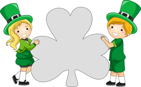 st paddys day: Illustration of Kids Holding a Clover-shaped Blank Banner