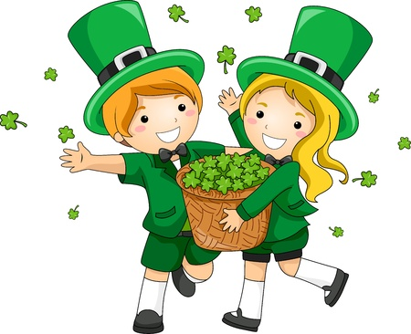 paddys: Illustration of Kids Scattering Clovers