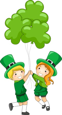lucky clover: Illustration of Kids Holding Clover-shaped Balloons
