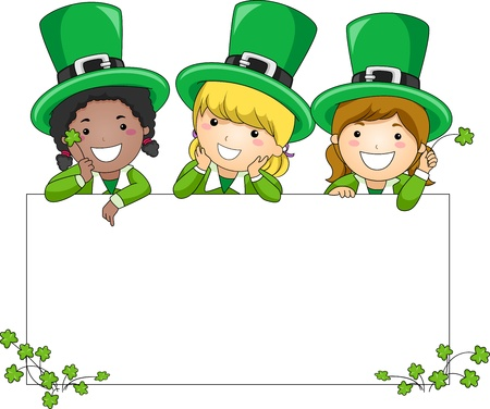 irish banner: Illustration of Kids Leaning Against a Blank Banner