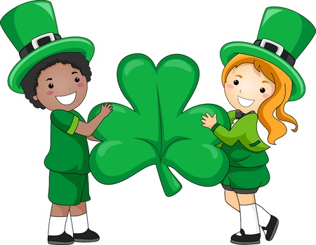 saint paddy's: Illustration of Kids Holding a Giant Clover Stock Photo