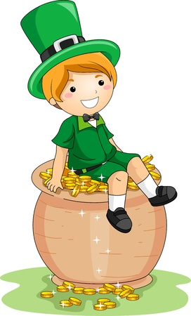 paddys: Illustration of a Boy Sitting on a Pot of Gold Stock Photo