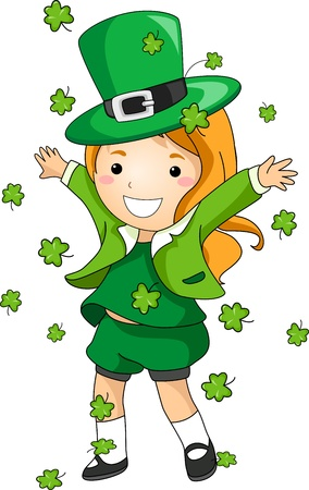 st paddys day: Illustration of a Girl Scattering Clovers Stock Photo