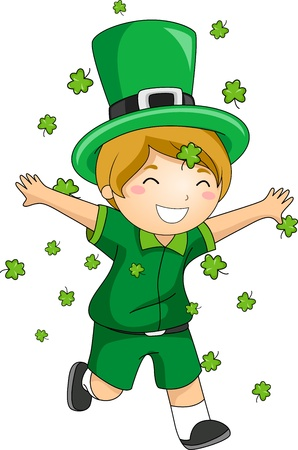 Illustration of a Boy Playing with Clovers illustration