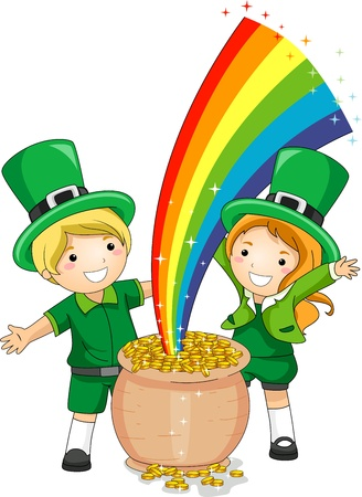 st paddys day: Illustration of Kids Standing in Front of a Pot of Gold