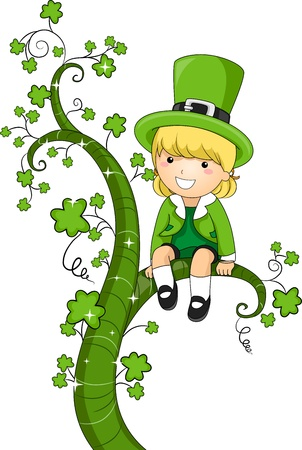 saint paddy's: Illustration of a Girl Sitting on Vines