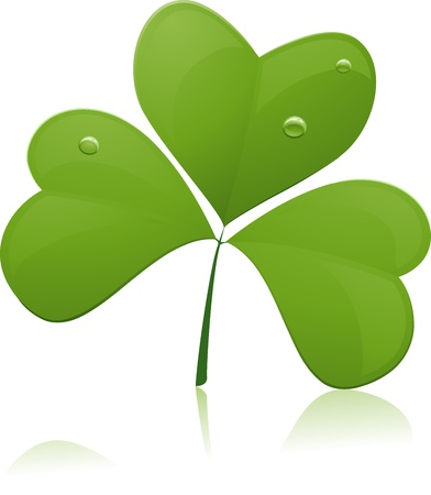 superstitions: Illustration of a Large Piece of Shamrock with reflection Stock Photo