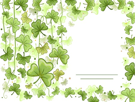 saint paddy's: Illustration of a Card with a Shamrock Design